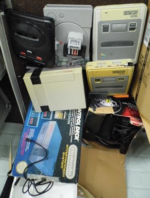 Selection of consoles, no cables, sold as seen-unchecked