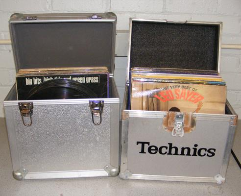2x Aluminium record cases with records (records & sleeves as seen)
