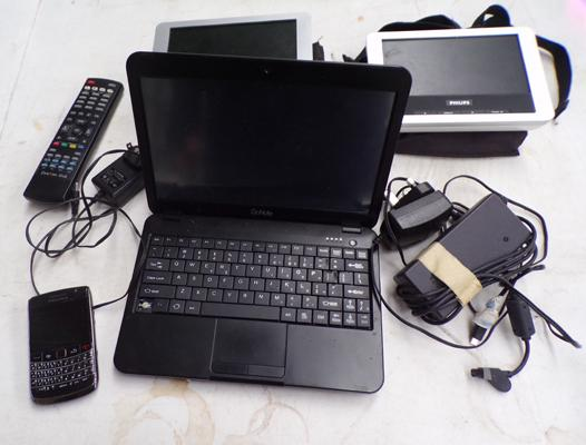 2x Philips portable LCD screen & cases, 1x Go Note, Blackberry mobile & assorted chargers