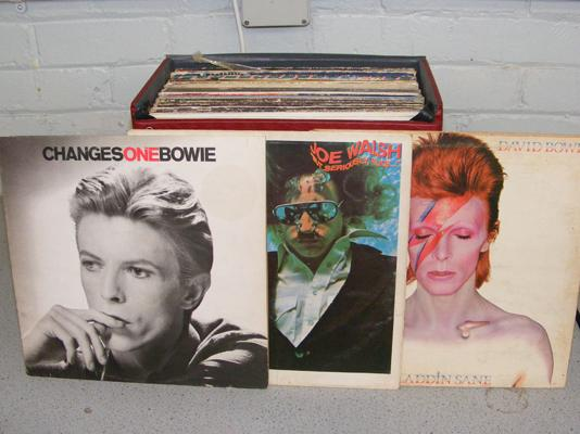 Large red box of LPs, incl.  Bowie etc...