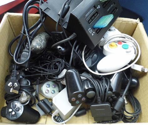 Box of mixed controllers inc Playstation etc