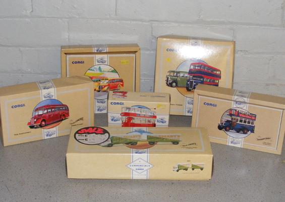 6x Corgi commercial trucks and buses - all boxed with certificates