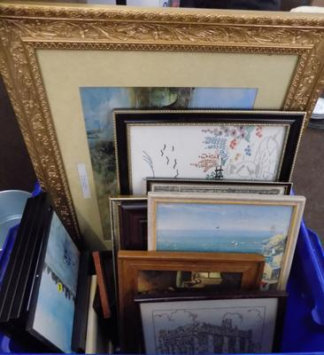 Box of mixed pictures & frames