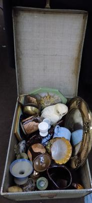 Vintage suitcase & mixed collectables