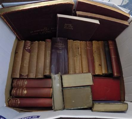 Box of mixed vintage books, incl. classics, music & dictionaries