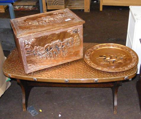 3 copper items, incl. side table