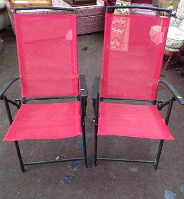 2x Folding garden chairs in red