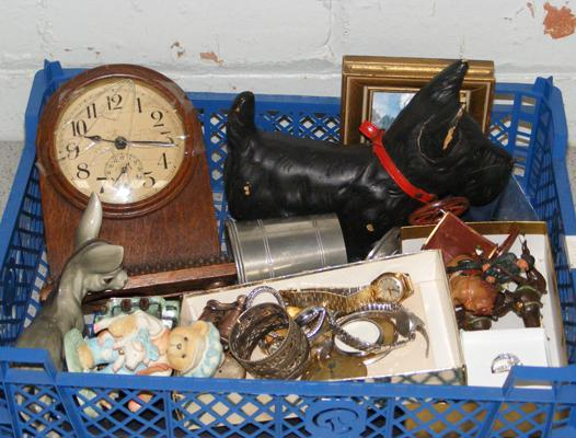 Basket of vintage collectables inc watches, jewellery, antique clock, soldiers etc