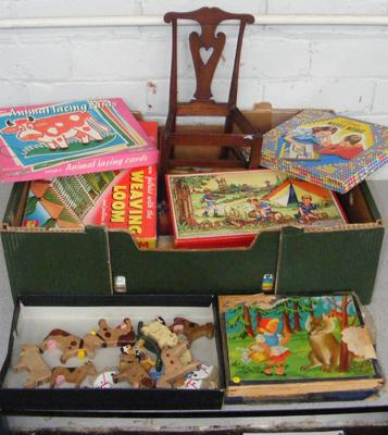 Box of 1950's games & toys