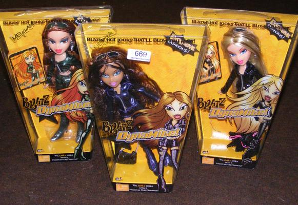 Selection of 3 boxed Bratz Dynamite dolls
