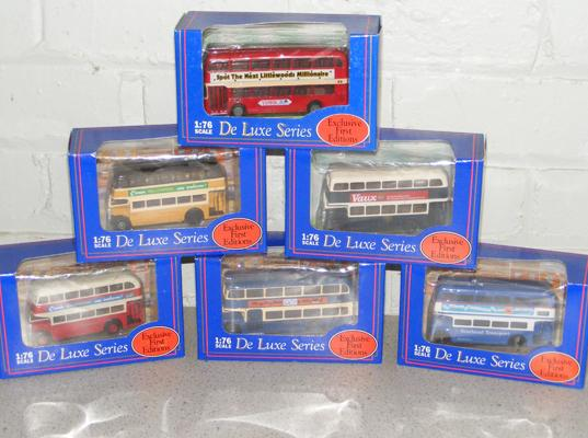 6x Exclusive first edition 'De Luxe Series' buses - all boxed