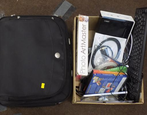 DVD, CD rewritable drive, laptop bag, keyboard, mouse & several discs