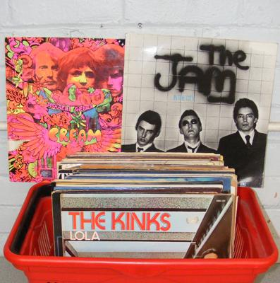 Large box of records (incl. The Jam, Cream, Kinks)