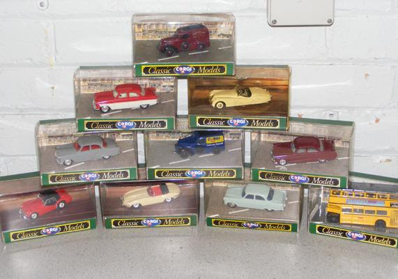 10x Corgi classic buses and cars - all boxed