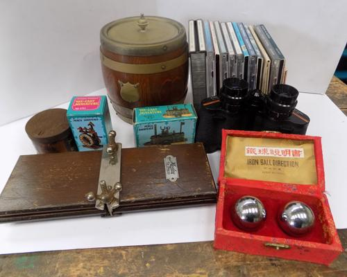 Mixed collectables, incl. New Age CDs, tie press, 1910 biscuit barrel, diecast pencil sharpeners etc...