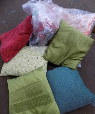 Large bag of cushions-various colours & materials
