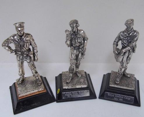 3 pewter figures, WWII up to dates 1942-1991