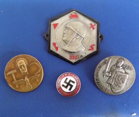 Selection of WWII badges-inc Nuremberg March, 1934 German May Day + 2 others