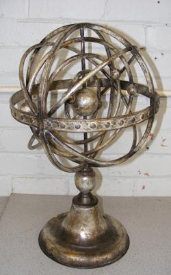 Vintage triple rotating astral globe silver plated on metal, 22 inches tall