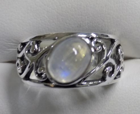 Silver & moonstone ring