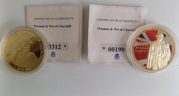 2x Wisdom & Wit of Churchill gold plate commemorative coins