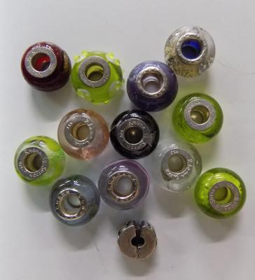 Collection of silver Pandora style beads