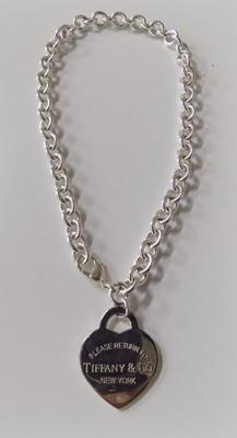 Silver Tiffany heavy weight heart necklace