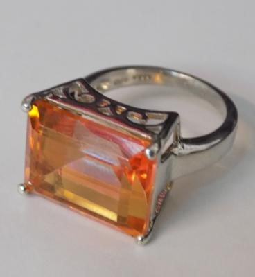Large size genuine emerald cut citrene gemstone sterling TGGC silver ring - size O