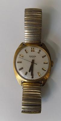 Vintage 1950's Seconda 17 jewel 14ct gold plated watch with expanding strap W/O