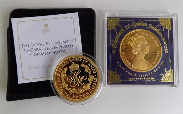 24ct Gold plated commemorative coin + 22ct gold plated proof Ltd Edition Golden Jubilee coin