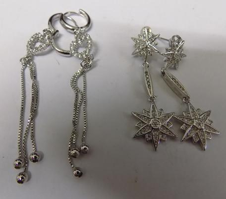 2x Pairs of silver drop earrings-stars & hearts