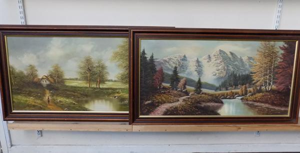 Pair of paintings on canvas, signed Edmund Kentish (German) signed Anderson sizes approx 44.5x25 inches