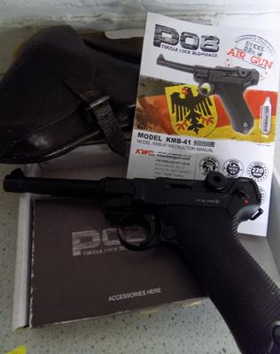 PO8 Toggle lock blowback air pistol with holster