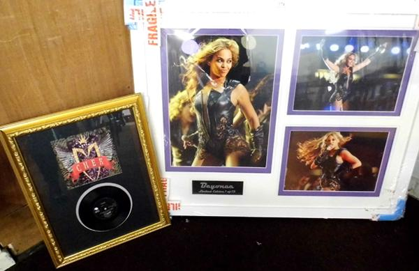 "Large framed photos of Beyonce (ltd. edition) 1/10 and framed Cher - 7"" 'Love and Understanding' single"