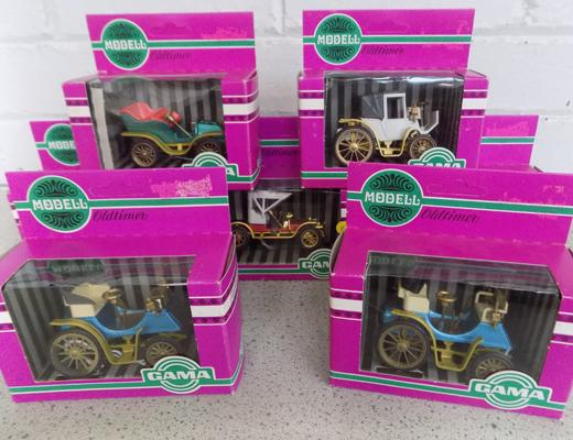7x Boxes of Gama toys old-times collection cars