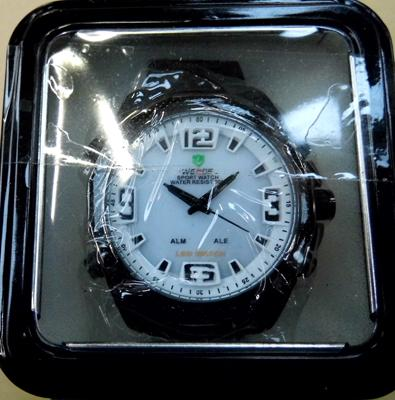 Weide white face, black stainless steel strap watch
