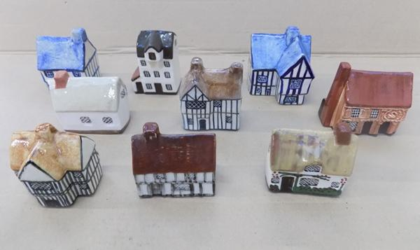 Box of pottery houses x9