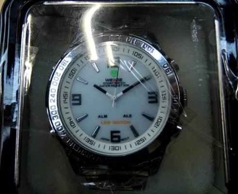 Weide white face stainless steel strap watch