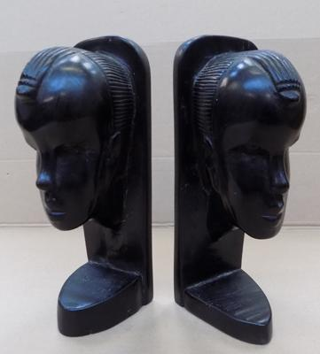"Pair of ebony book ends - approx. 8"" high"
