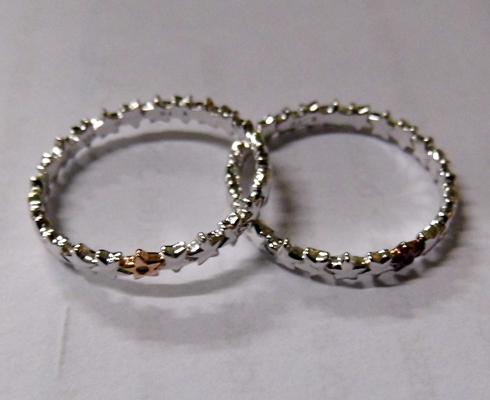 2x Sterling silver diamond band rings-as new
