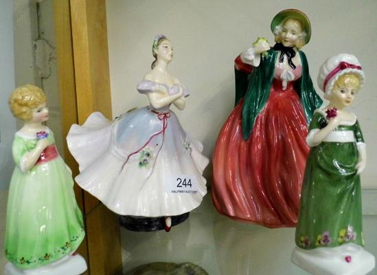 4x Royal Doulton figurines - some repair to ballerinas waist