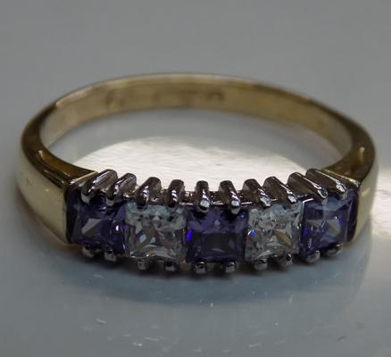 9ct Gold amethyst & white stone ring size N1/4