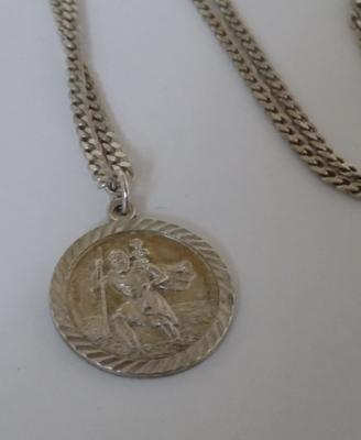 "Silver St.Christopher with silver 24"" chain"