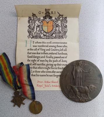 WWI Death plaque with certificate inc Star & Victory medal to 33710 DVR A Sheard from the Royal Field artillery