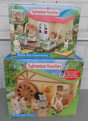 Sylvanian Families Water Mill Bakery (no figures) Flair 4492 + Willow Hall Conservatory (Flair 4963)