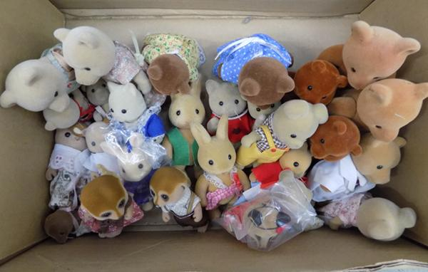 Box of assorted Sylvanian Families figures