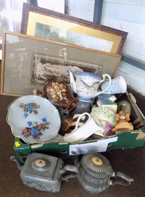 Box of vintage and antique collectables incl. Victorian Pewter tea set, Cooperware etc.