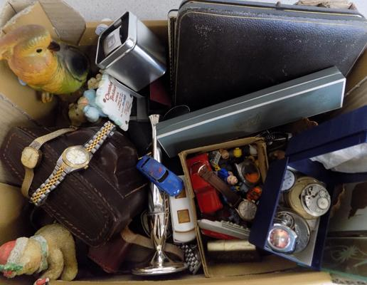 Box of vintage collectables incl. coins, lighters, watches, silver plate, Lego characters etc.
