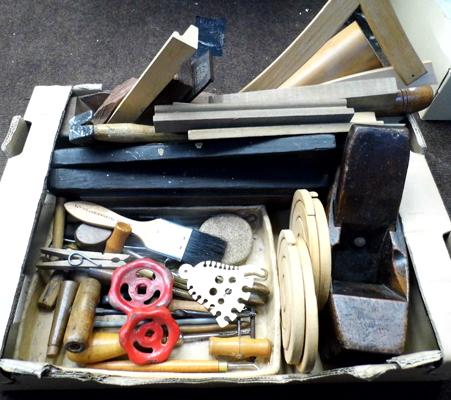 Box of vintage wood carving tools