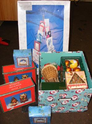 Selection of boxed Christmas items
